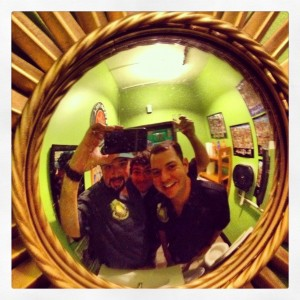 d and Weezie at Salud Mirror