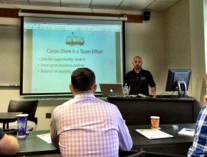Adam Charnack, owner of Hi-Wire Brewing, kicked the class off with the story of building up  his breweries business.