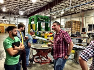 The class enjoying a guided tour with John Lyda, Brewmaster and VP of Highland Brewing Company.