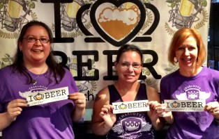"Charlotte Roller Girls- Cathy ""Cutthroat Cathy"" Stoddard, Lisa ""Nita Beer"" Alene-Donelson and Julie Murphy,"