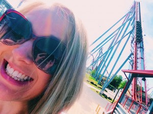 Amanda vs. The Intimidator. Tip: look closely at my glasses to see my selfie hands.