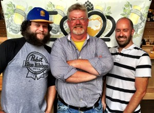 Ollie Mulligan, Ryan Waters from Great Wagon Road Distillery and Lindoll French from The Broken Spoke